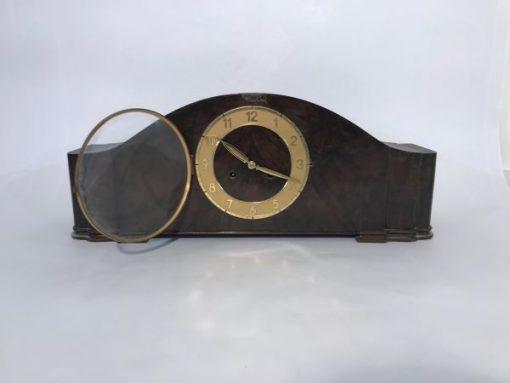Uhr, standuhr, braun, antik, luxus, wohnzimmer, dunkelbraun, unrestauriert, design, elegant, holz, messing, einlagen, toller Fuß