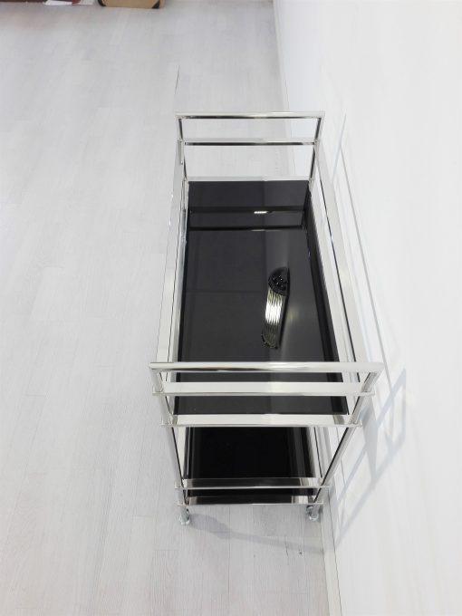 Bauhaus, Barwagen, Bars, Design, Innendesign, Glas, Lacobel, Chrom, Gestell, Rollbar, Servierwagen, Hochglanz, Luxus, Hotelmöbel
