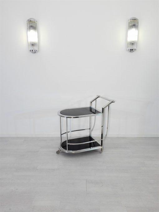 Bauhaus, Barwagen, verchromtes Gestell, Design, Hotelmoebel, Luxus, Servierwagen, Lacobel-Glass, 1950er, elegant, Wohnzimmer