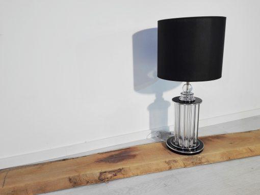 Chrom Art Deco Stil Tischleuchte, Lampe, klavierlack, Moebel, Beleuchtung, Luxus, Innendesign, Dekoration, Glasstaebe, Wohnzimmer