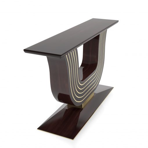 Deco Style, Art Deco, Moebel, Design, Walnuss, Holz, Messing , Handwerkskunst, Innendesign, Tisch, Wandtisch, Konsole, geschwungenes Design