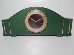 gruene Art Deco Tischuhr, Uhr, Schrankuhr, anitk, restauriert, Design, Walnuss, Ziffernblatt, Messing, Einrichtung, Dekoration