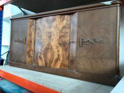 kommode, unrestauriert, braun, toller Fuß, furnier, antik, wohnzimmer, elegant, muster, luxus, groß, stabil, muster, symmetrisch