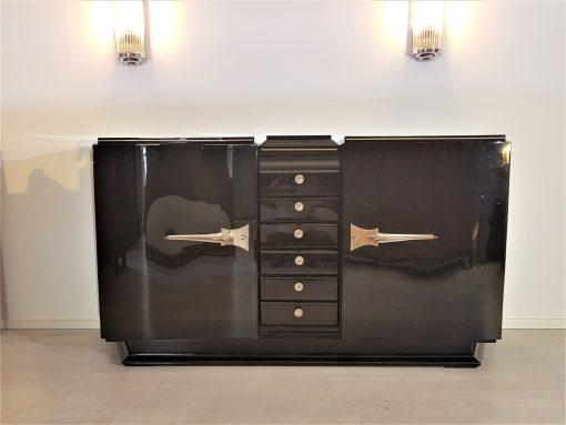 Art Deco, Sideboard, Design, geschwungene Turen, schwarz, Hochglanz, Lack, Innendesign, Kommode, Buffet, Credenza, Aufbewahrung, Luxus