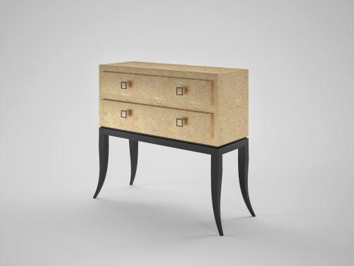 Goldene Design Kommode, Innendesign, individualiserbare Möbel, Blattgold, Klavierlack, polierte Oberflaechen, geschwungene Beine
