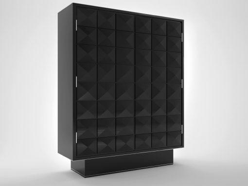 Schwarzer Klavierlack Design Schrank, Möbel, Moebel, Aufbewahrung, Chromleisten, Handpoliert, Rautenmuster, Makassar, Innendesign