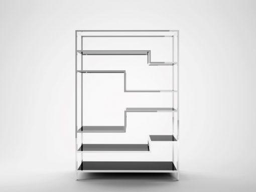 Design regal paerchen aus Chrom und Glas, Art Deco, Innendesign, Individualisierbar, Wohnzimmer, Aufbewahrung, Elegant, Lacobel, Glas