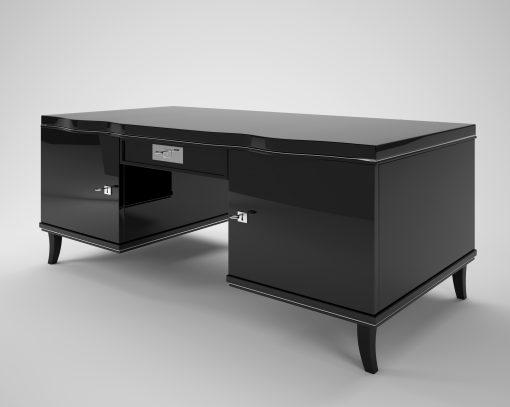 Art Deco, Schreibtisch, makassar, Schubladen, geschwungene Beine, Design, Moebel, Luxus, Innendesign, Klavierlack, poliert, Hochglanz, elegant