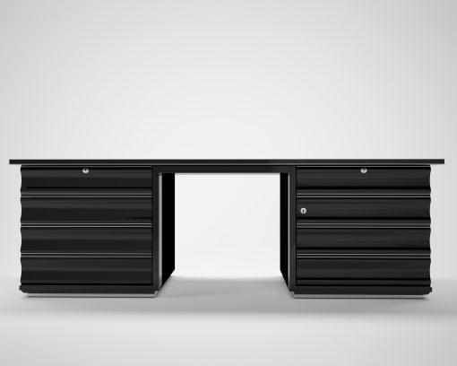 Schwarzer Art Deco Schreibtisch mit roten Schubladen, Hochglanz, Moebel, Design, Tisch, Buero, Innendesign, luxus, Lack, Klavierlack