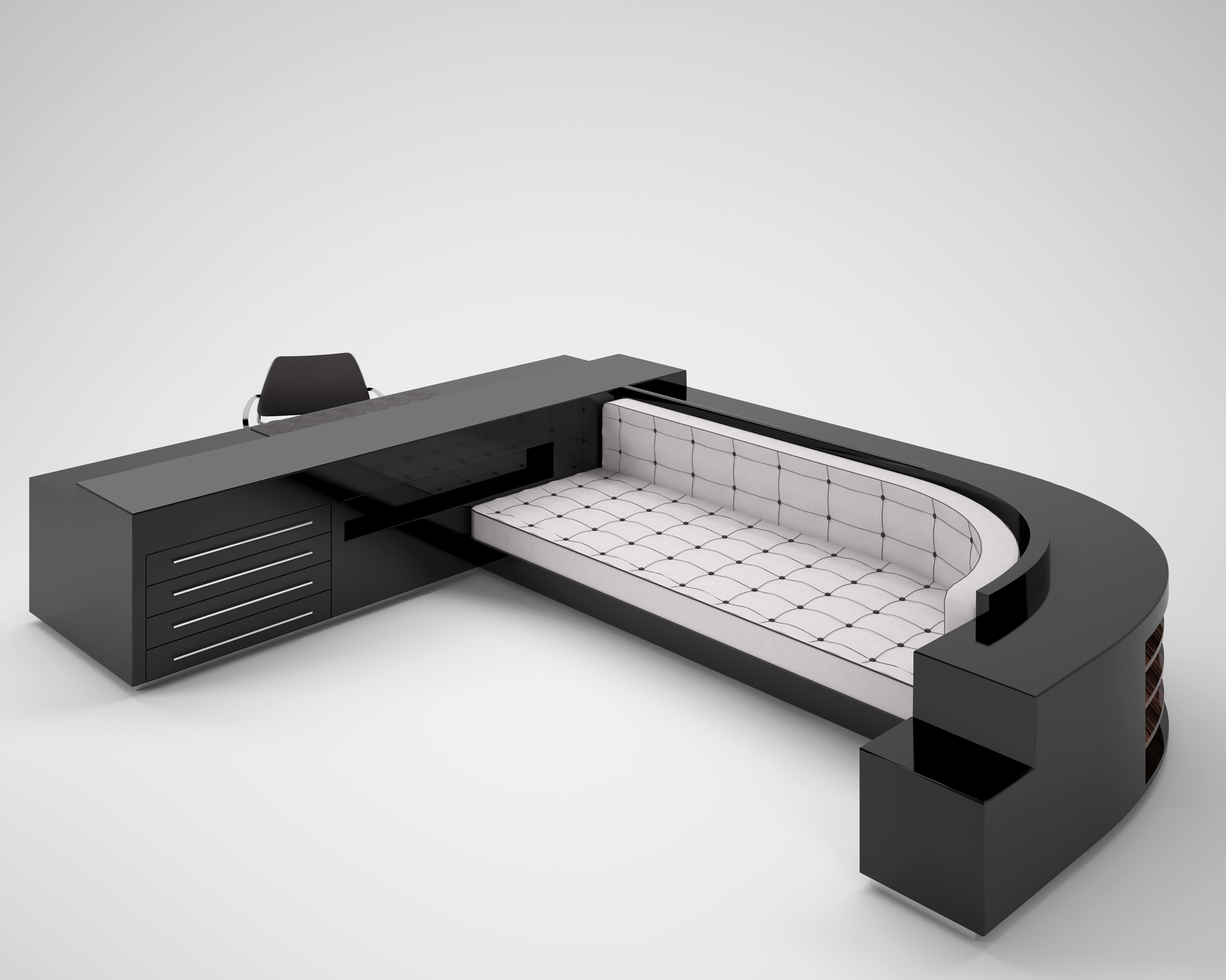 xxl sofa und schreibtischkkombination in hochglanz schwarz original antike m bel. Black Bedroom Furniture Sets. Home Design Ideas