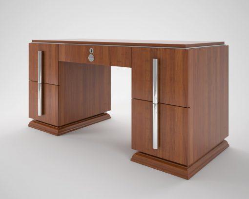 Art Deco, Moebel, Design, Walnuss, Holz, edel, Luxus, Innendesign, Chromgriffe, Schubladen, Buero, Wohnzimmer, Abschliessbar