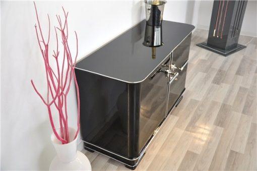 Kleine Art Deco Kommode, original, Mahagoni, Klavierlack, Chromgriffe, Design, Luxus, Aufbewahrung, Innendesign, Wohnzimmer