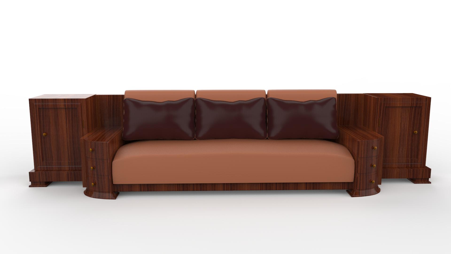 Grosses Walnuss Art Deco Sofa Original Antike Mobel