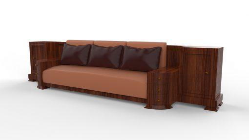 Großes Art Deco Sofa, Walnuss Holz, Maserung, XXL, Dreisitzer, Leder, Kissen, Innendesign, Luxusmoebel, Villa, Wohnzimmer, Sitzmoebel