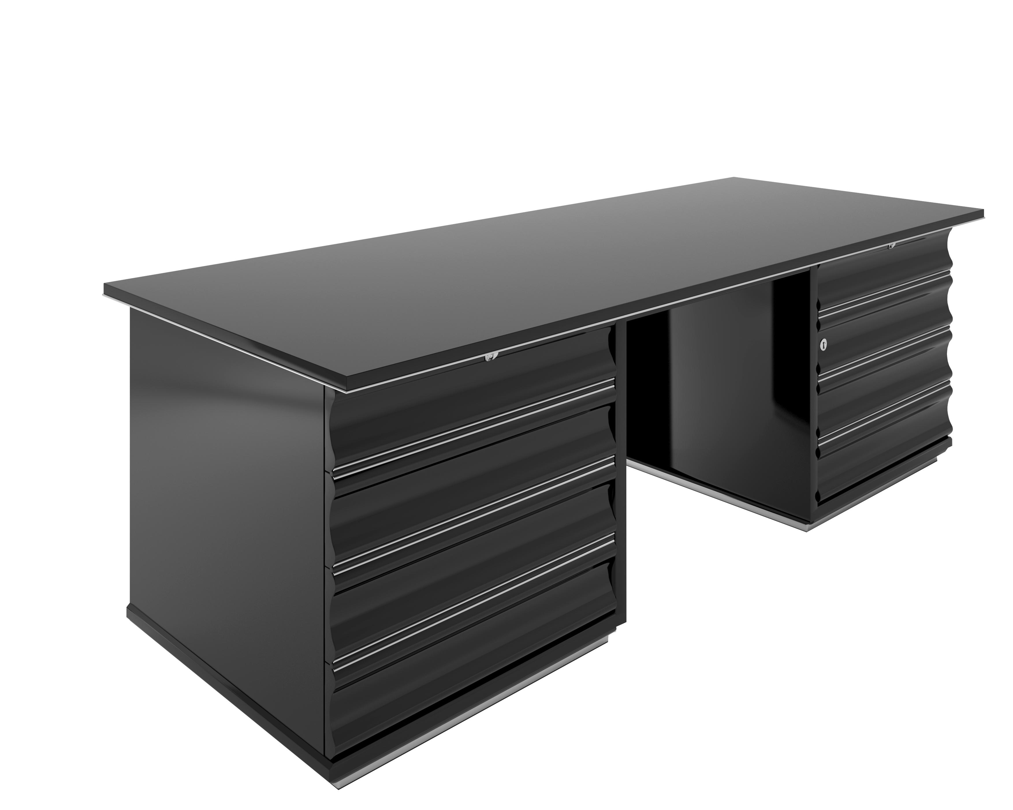 schwarzer art deco schreibtisch mit roten schubladen original antike m bel. Black Bedroom Furniture Sets. Home Design Ideas