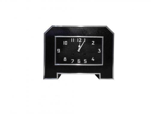 Schwarze Art deco Tischuhr, Design, Dekoration, Innendesign, Schreibtisch, Uhr, Antik, Original, Chrom, Lack, Buero, Wohnzimmer