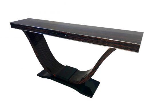 Makassar Konsolentisch, Moebel, Wandkonsole, Tisch, Furnier, Holz, habdarbeit, Wohnzimmer, Chromlinien, Individualisierbar