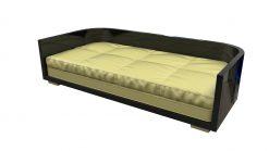 Schwarzes Art Deco Sofa, Design, Luxusmoebel, Moebel, Matratze, Gemuetlich, Hochwertig, Innendesign, Lack, Klavierlack, Knöpfe, Einrichtung, Wohnzimmer