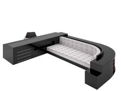XXL Sofa und Schreibtischkombination, Hochglanz-Schwarz, Art Deco Design, Innendesign, Sofa, CEO, Großer Schreibtisch, Leder, Auflage, Schubladen