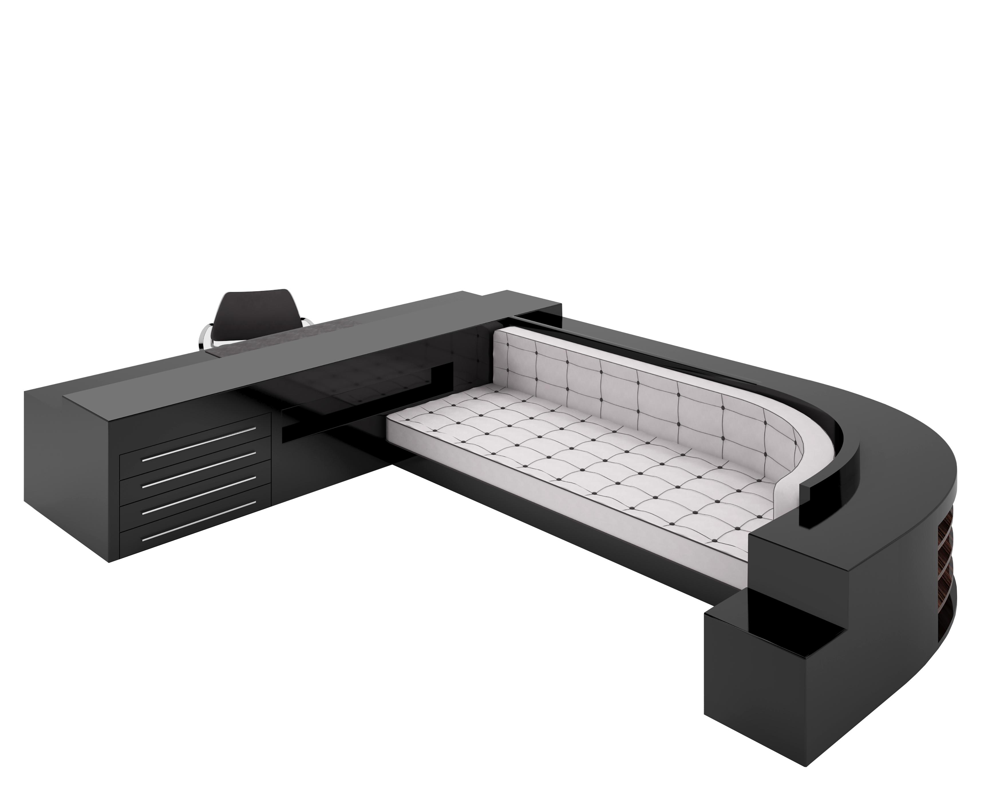 Xxl Sofa Und Schreibtischkkombination In Hochglanz Schwarz