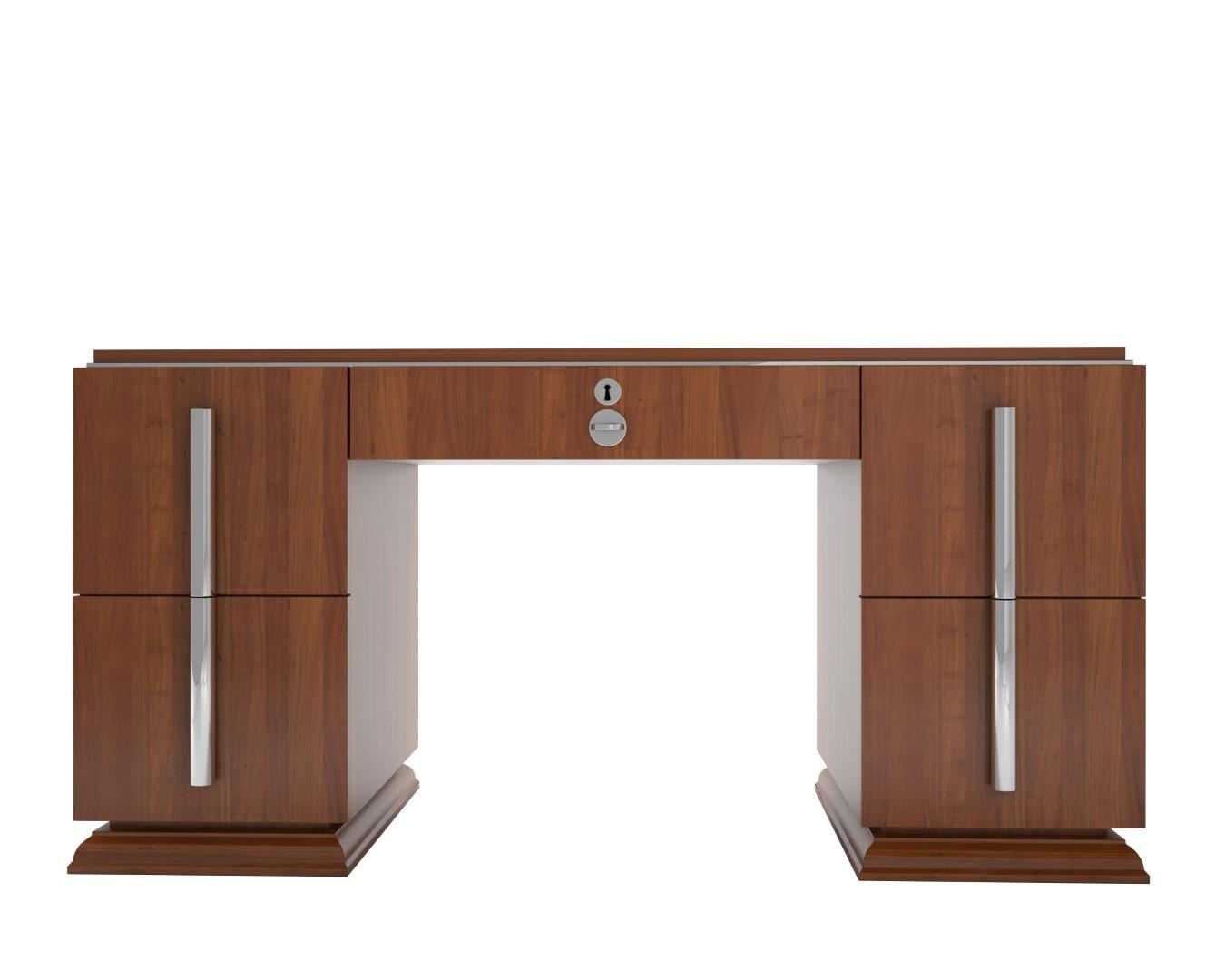 Walnuss Art Deco Schreibtisch mit Chromgriffen