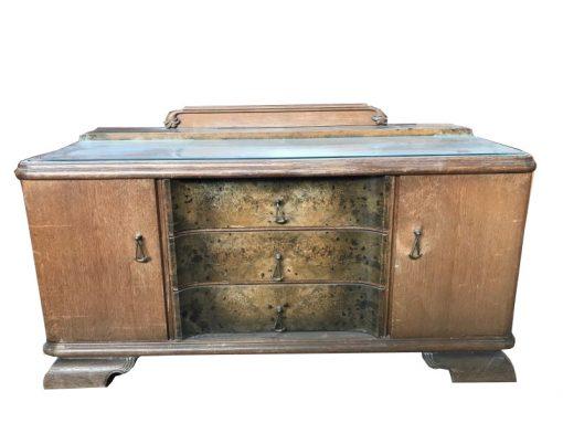 kommode, unrestauriert, braun, toller Fuß, furnier, antik, wohnzimmer, sideboard, muster, luxus, groß, stabil, muster, glasplatte