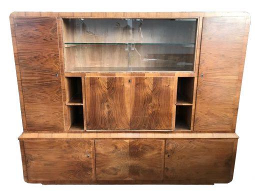 vitrine, unrestauriert, braun, toller Fuß, furnier, antik, wohnzimmer, elegant, luxus, groß, stabil, muster, glas, wandvitrine
