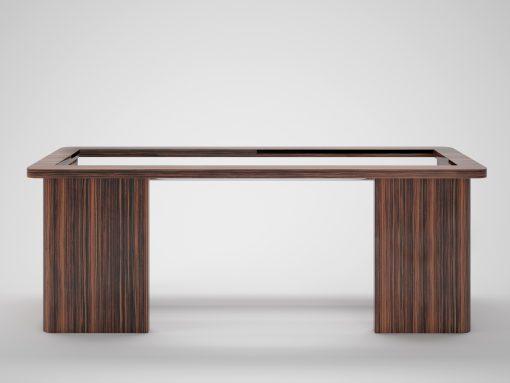 Toller Design Schreibtisch für Ihr Büro oder Wohnzimmer. Bietet einzigartiges Makassarholz und tolle Stahlapplikationen unter der Tischplatte