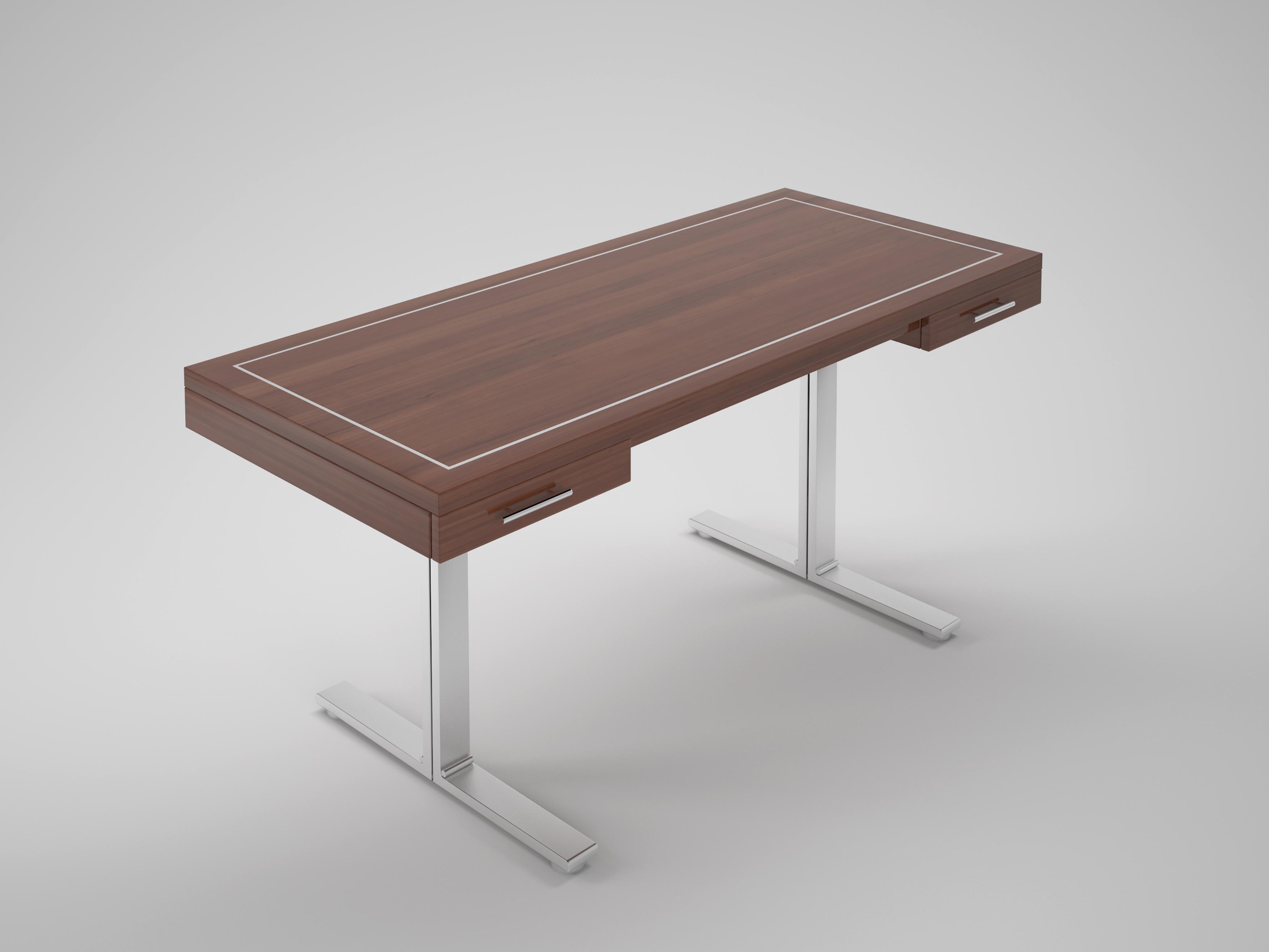 Palisander design schreibtisch mit stahlf en original for Kreuch tisch und design