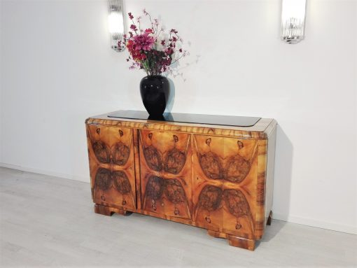 Wurzelholz Art Deco Sideboard aus Frankreich, Walnussholz, Nussbaum, Aufbewahrung, Antiquitaeten, Design, Restaurierung, Furnier