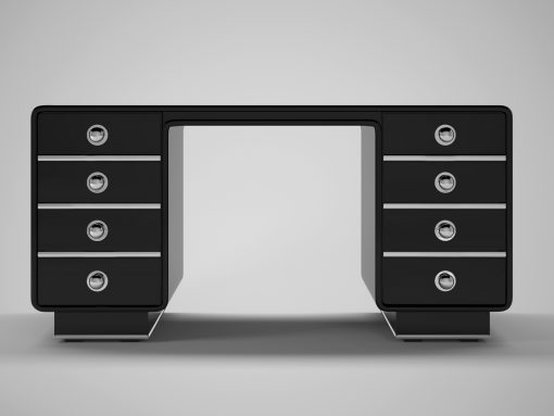 Schwarzer Art Deco Design Schreibtisch aus unserer Werkstatt in Senden, NRW. Bietet Hochglanz-Schwarzen Klavierlack und ein einzigartiges Design