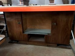 sideboard, unrestauriert, braun, toller Fuß, furnier, antik, wohnzimmer, elegant, muster, luxus, groß, stabil, muster, vitrine