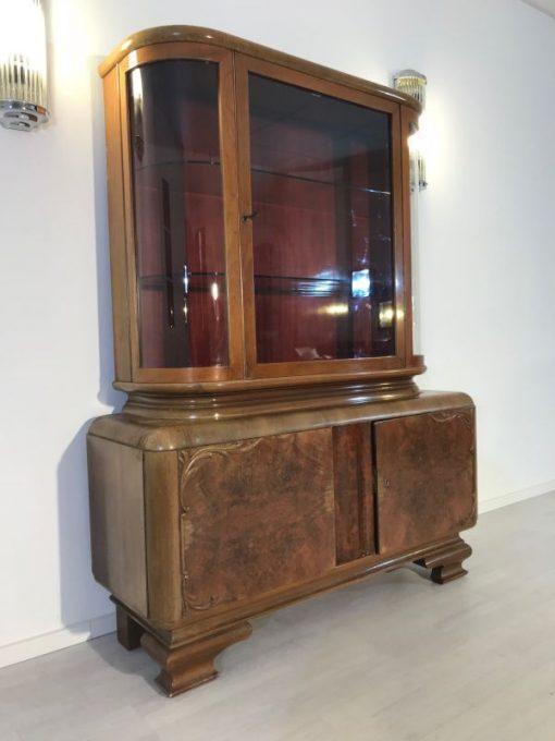 vitrine, unrestauriert, braun, toller Fuß, furnier, antik, wohnzimmer, elegant, muster, luxus, groß, stabil, muster, glas