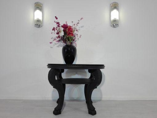 Art Deco, Design, original, 1920er, Beistelltisch, Loewenfueße, Luxus, Schwarz, Glasplatte, geschwungene Beine, Wohnzimmer, Innendesign