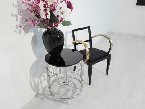 Franzoesischer Art Deco Stuhl mit Schlagmetal, Restaurierung, Schwarz, Klavierlack, Design, Bronze, Gold, Innendesign, Luxus, moebel