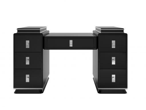 Hochglanz-Schwarzer Design Schreibtisch fuer ein luxurioeses Buero oder Wohnzimmer mit tollen Chromgriffen und Akzenten