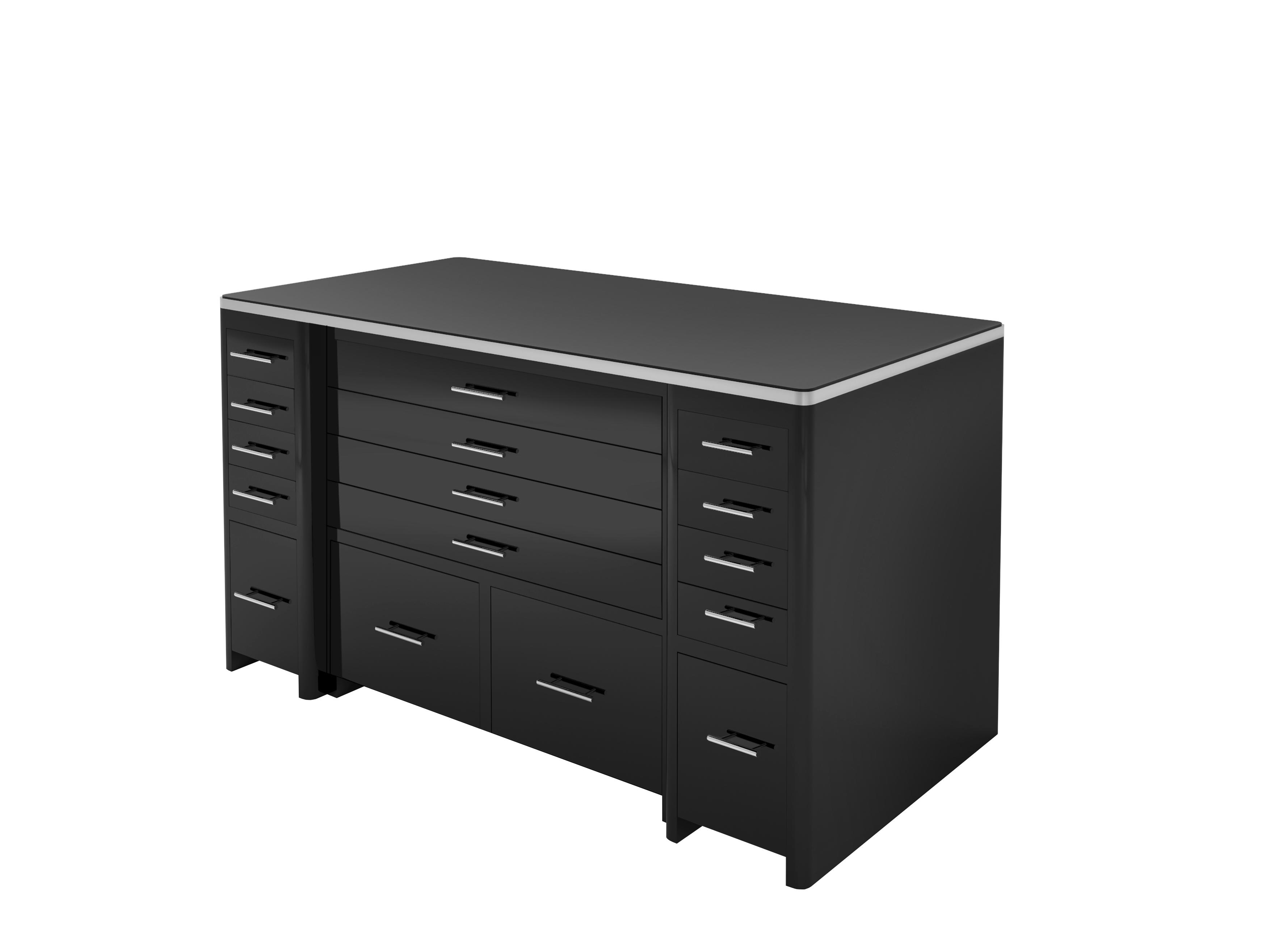 hochglanz schwarzer schreibtisch mit schubladen front original antike m bel. Black Bedroom Furniture Sets. Home Design Ideas