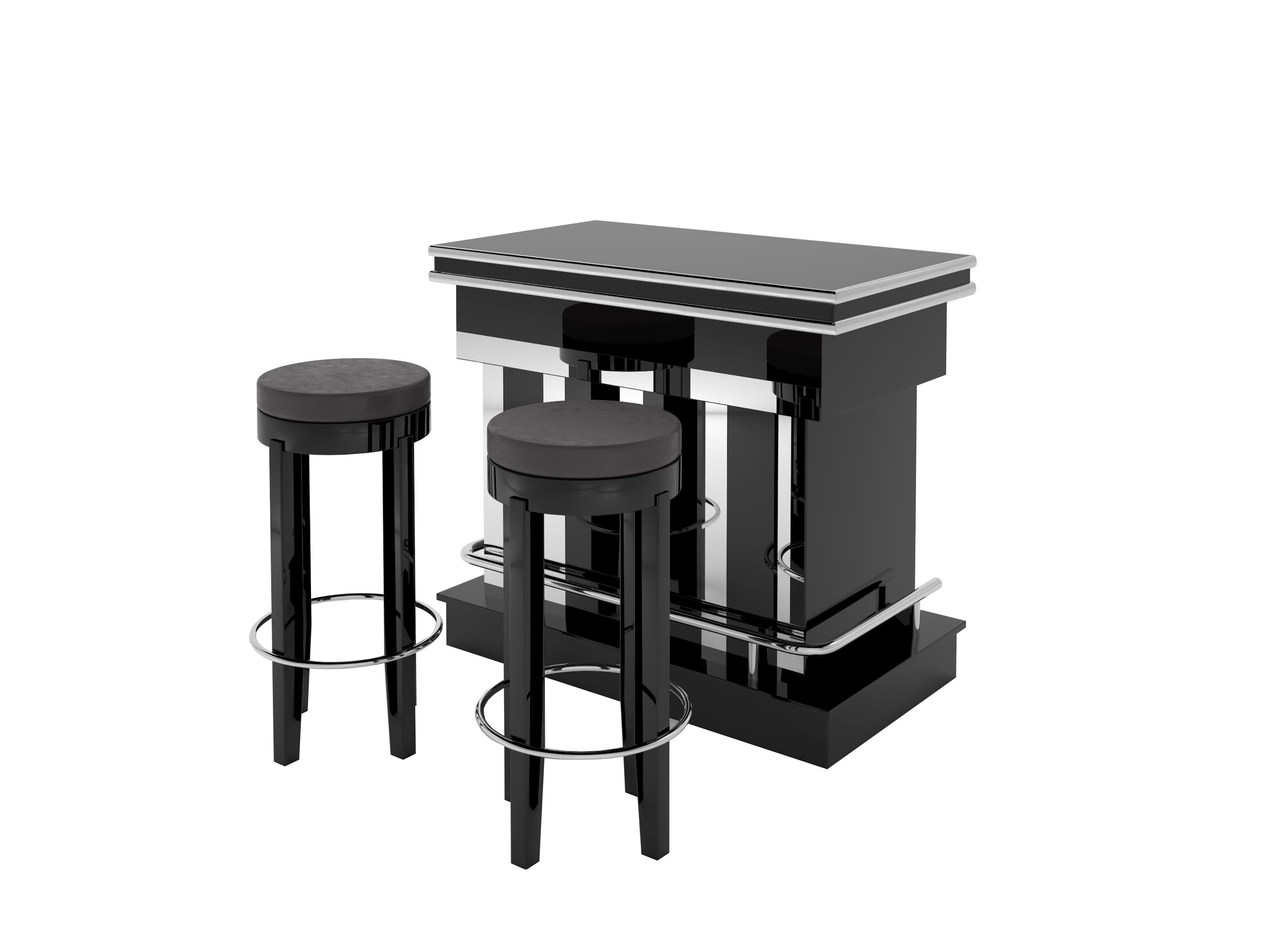 Art Deco Design Bar mit Klavierlack - Original Antike Möbel
