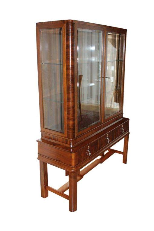 art deco, vitrine, braun, glas, furnier, muster, schloss, schlüssel, boden, restauriert, antik, wohnzimmer, elegant, luxus