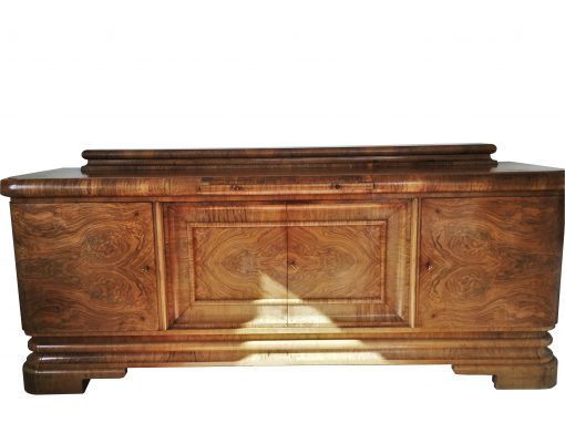 Art Deco Walnuss Sideboard, wundervolle Maserung, viel Stauraum, rote Marmorplatte, Original, Walnussholz, Moebel, Buffet, Aufbewahrung