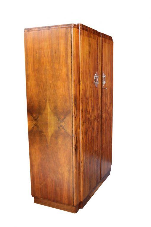 schrank, restauriert, braun, toller Fuß, furnier, antik, wohnzimmer, elegant, muster, luxus, groß, stabil, muster, wurzelholz