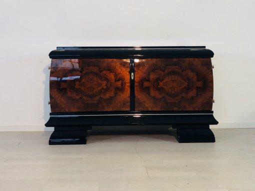 Art Deco, Moebel, Nussbaum Lowboard, Kommode, Schränkchen, Luxus-Möbel, Design, Innendesign, Walnuss, Maserung, Furnier, Klavierlack