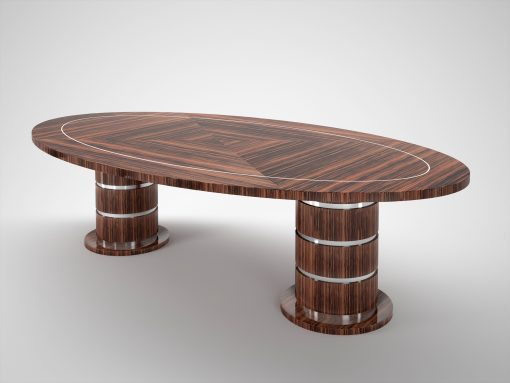 Ovaler Art Deco Design Makassar Esstisch, Hochglanz, Furnier, Chromapplikationen, Innendesign, Handgefertigt, Intarsien, Luxusmoebel