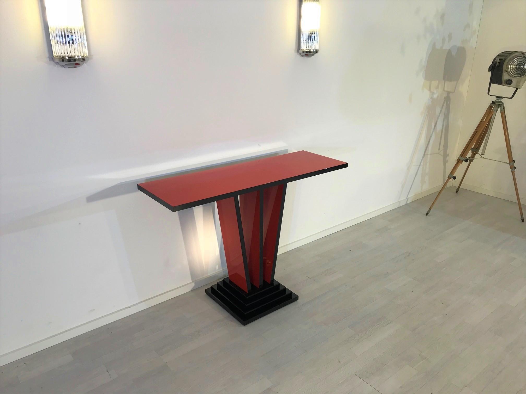 rote schwarze art deco design konsole original antike m bel. Black Bedroom Furniture Sets. Home Design Ideas