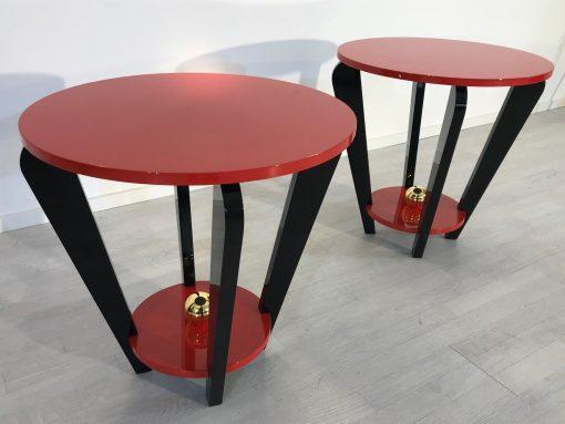 Pärchen Rot und Schwarzer Beistelltische im Art Deco Design, Klavierlack, Farbe, innendesign, Wohnzimmer, Tische, Moebel,