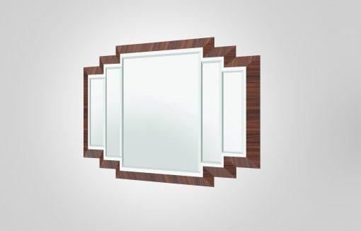Art Deco Design Spiegel mit Makassarrahmen, Innendesign, Spiegel, Wandspiegel, Edelhölzer, 1920er, Luxus, Moebel, Holz, handarbeit