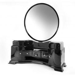 art, deco, frisiertisch, tisch, konsole, kommode, frankreich, spiegel, holz, verchromt, chrom, schwarz, silber, restauriert
