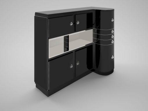 art, deco, design, geschwungene, front, schwarz, türen, spiegel, moebel, sideboard, griffe, chrom, stauraum, wohnzimmer, luxus