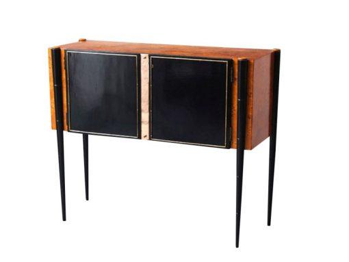 Art, Deco, Konsole, Schrank, 1940, wurzelholz, restauriert, Wohnzimmer, schwarz, braun, italien, italienisch, mid, century, buchenholz, spiegel