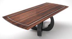 design, esstisch, kavierlack, geschwungener, fuß, makassar, tischplatte, intarsie, hochglanz, wohnzimmer, esszimmer, tisch